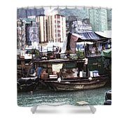 Fishing Village Digital Painting Shower Curtain