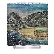 Fishing Village In  Winter Shower Curtain
