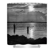 Fishing With Dad - Black And White - Merritt Island Shower Curtain