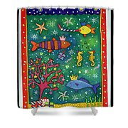 Fishy Christmas, 1997 Wc And Pastel On Paper Shower Curtain