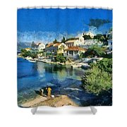 Fiskardo Beach In Kefallonia Island Shower Curtain
