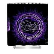Fitz's In Purple Neon Shower Curtain