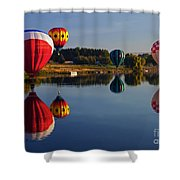 Five Aloft Shower Curtain by Mike  Dawson