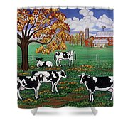 Five Black And White Cows Shower Curtain