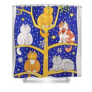 Five Christmas Cats Shower Curtain