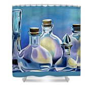 Five Clear Bottles Shower Curtain