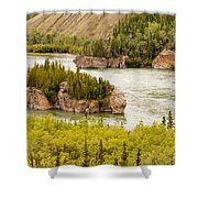 Five Finger Rapids Of Yukon River Yukon T Canada Shower Curtain