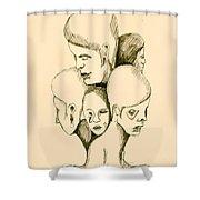 Five Headed Figure Shower Curtain
