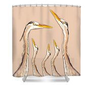 Five Herons Shower Curtain