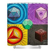 Five Platonic Solids - Fire Shower Curtain
