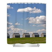 Five Sheds On The Alberta Prairie Shower Curtain