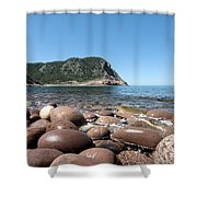 five steps to paradise - Giant pebbles is Menorca north shore close to Cala Pilar beach Shower Curtain