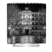 Five Till Seven In Black And White Shower Curtain