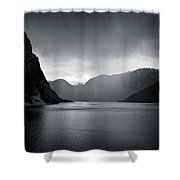 Fjord Rain Shower Curtain by Dave Bowman