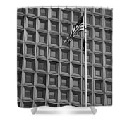 Flag And Windows In Black And White Shower Curtain