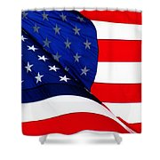 Flag Mirror Shower Curtain