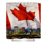 Flag Of Canada Over Albertas Capital Shower Curtain