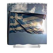Flag Of Greece Shower Curtain