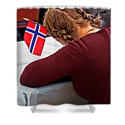 Flag Of Norway In Girls' Braided Hair Art Prints Shower Curtain