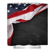 Flag On Blackboard Shower Curtain by Les Cunliffe