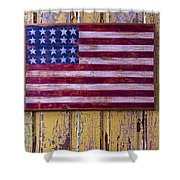 Flag On Old Yellow Door Shower Curtain