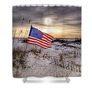 Flag On The Beach Shower Curtain by Michael Thomas