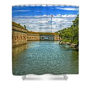 Flag Over The Moat Shower Curtain