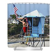 Flag Waving Lifeguard Shower Curtain