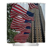 Flags At Rokefeller Plaza Shower Curtain