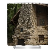 Flagstone Fireplace Shower Curtain