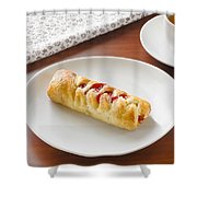 Flaky Pastry With Cherry Jam Shower Curtain