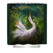 Flamboyant Egret Shower Curtain by Melinda Hughes-Berland