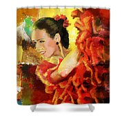 Flamenco Dancer 027 Shower Curtain by Catf