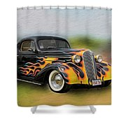 Flames On Wheels Shower Curtain