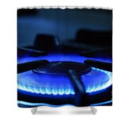 Flaming Blue Gas Stove Burner Shower Curtain