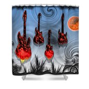 Flaming Guitars Shower Curtain