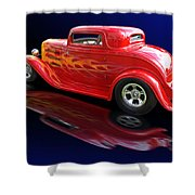 Flaming Roadster Shower Curtain by Gill Billington