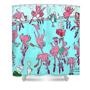 Flamingo A Go Go Shower Curtain