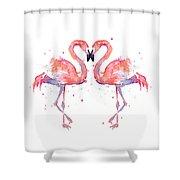Flamingo Love Watercolor Shower Curtain