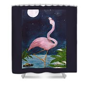 Flamingo Moon Frog Cathy Peek Tropical Bird Shower Curtain