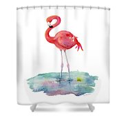 Flamingo Pose Shower Curtain
