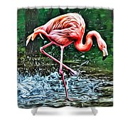 Flamingo Splash Two Shower Curtain