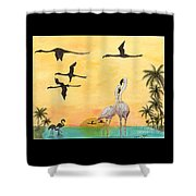 Flamingo Sunset Silhouette Cathy Peek Tropical Birds  Shower Curtain