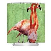 Flamingo Twist Shower Curtain by Jeff Kolker