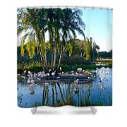 Flamingo Watering Hole Shower Curtain