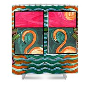 Flamingoes 2 Shower Curtain
