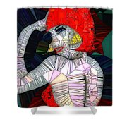 Flapper Girl In Glass Shower Curtain