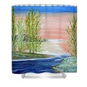 Flathead Lake Sunset Shower Curtain