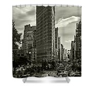 Flatiron Building - Black And White Shower Curtain