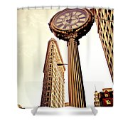 Flatiron Building And 5th Avenue Clock Shower Curtain